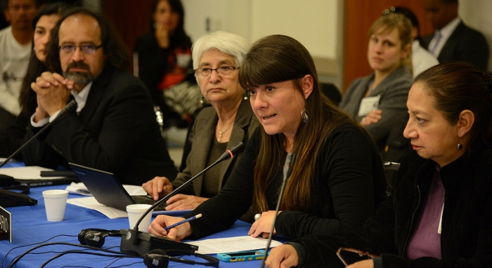 Belen Paez at the hearing of the IACHR