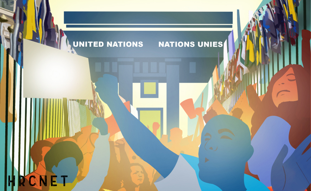 Illustration of people protesting in front of the UN Human Rights Council.